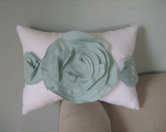Shabby Chic Trio Of Roses Pillow in White and Robin Egg Blue Linen