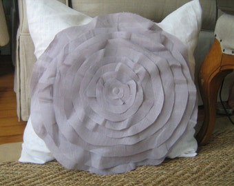 French Rose Pillow in White and Lavender
