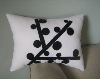 Mod Black and White Berry Branch Pillow