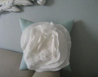 French Rose Pillow in Robins Egg Blue Linen with Ivory Rose