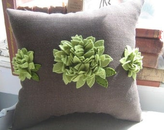 Trio Of Hydrangea Blooms Pillow on Brown Linen