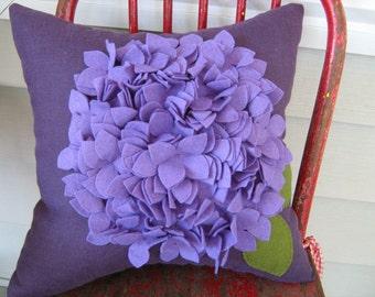 Purple Hydrangea Pillow in Linen and Felt