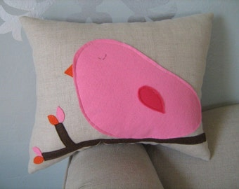 Cotton Candy Pink Bird Pillow on Oatmeal/Natural Linen