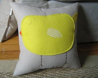 Chubby Yellow Bird Pillow 14x14  CUSTOMIZE