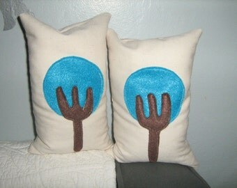 Teal Little Trees Beanbag Bookends