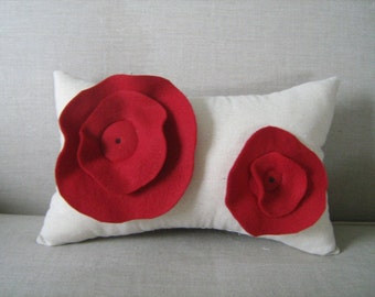 Ruffled Poppy Pillow in Deep Red