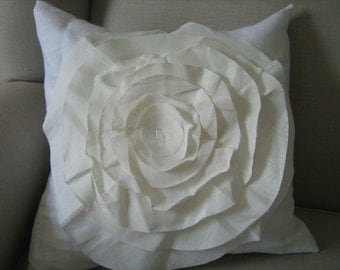 White French Rose Pillow Cover with Cream Rose