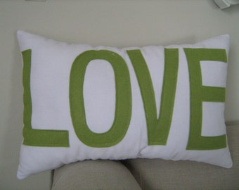 LOVE Pillow in White and Sage Green