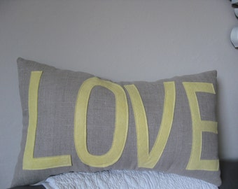 LOVE Pillow in Oatmeal and Butter Yellow