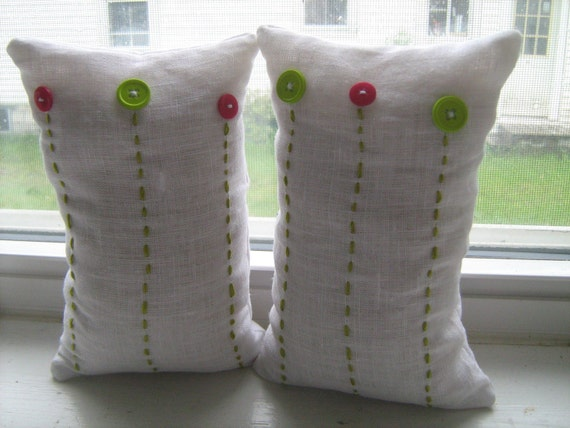 Pink and Green Button Flower Beanbags in White Linen