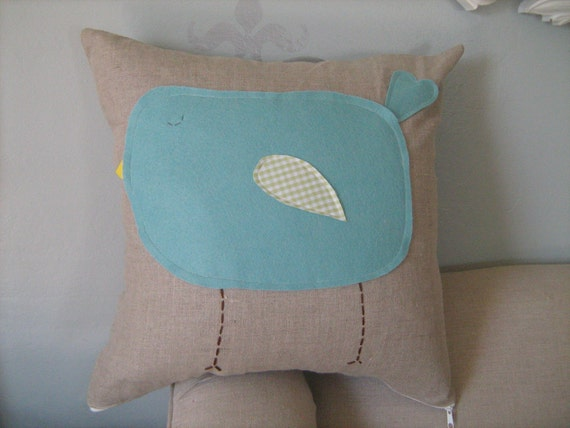18x18 Inch Pillow Cover- Robin Egg Blue Chubby Bird