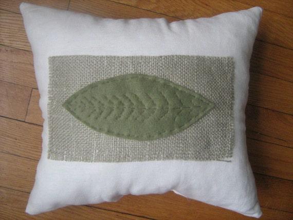 Natural Burlap Leaf Pillow 14x14