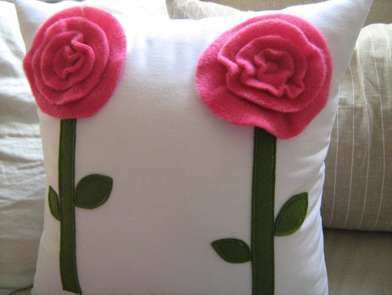 Pink Bloom on White Pillow