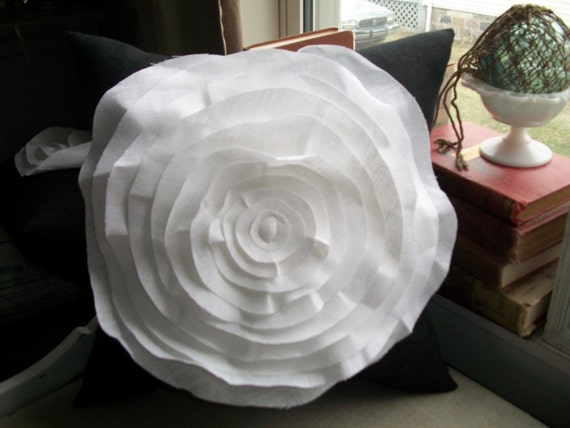 Modern French Rose Pillow Cover  in Black and White Linen