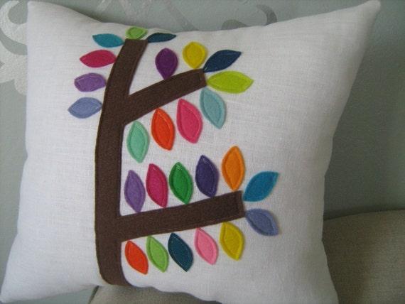 Mod Tree Pillow on White Linen 14x14