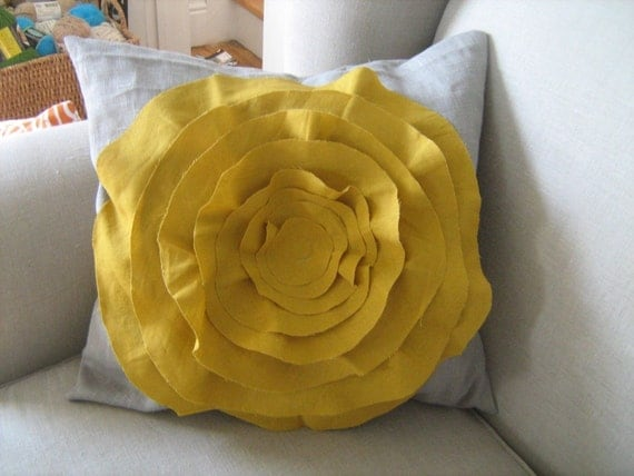 French Rose pillow cover in Grey Linen  and Mustard Yellow