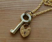 Mini Skeleton Key & Heart Padlock