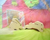 Pair of wooden bunny toys