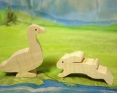wooden duck and bunny all natural