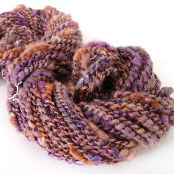 RESERVED for chesterone SALE Angelique 74 yards handspun plyed novelty art yarn
