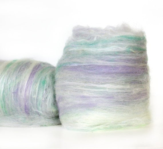 Wool-Merino-Batt Opaline Collection: Opals 3.8 oz // Wool Drum Carded Art Batt for spinning or needle felting