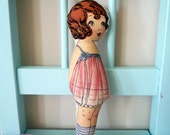 Ela the wishes fairy / Fabric vintage inspired cloth doll