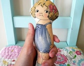 Nina the Sheep Whisperer in blue dress/ Paper doll vintage inspired cloth doll
