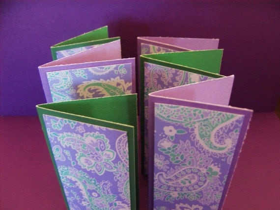 1.00 SHOP Mini Note Card Set  Lavender Green Paisley
