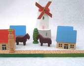 Miniature carved wooden village from West Germany