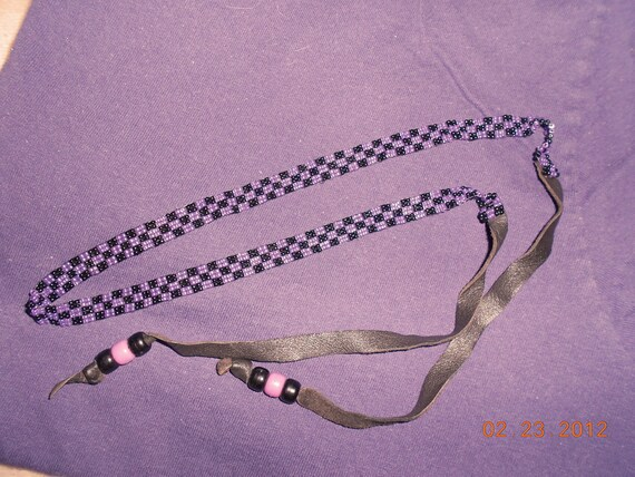 Beaded Hat Band   Black Purple  Or Use for Crafts
