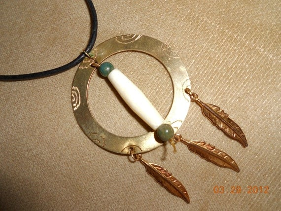 Brass, Bone and Feathers Necklace