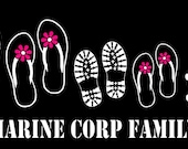 Military Boot Flip Flop Family Car decal Sticker Custom Made