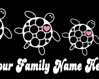 Turtle Family Car Decal Sticker Custom Made