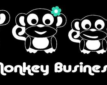 Monkey Family Car Decal Sticker Custom Made