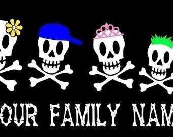 Skull Family Car Decal Sticker Custom Made