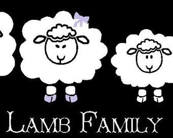Lamb Sheep Family Vinyl Car Decal Custom Made Personalized