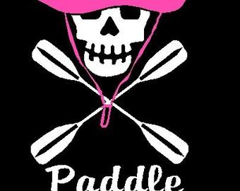 Kayak Skull Paddel Like A Girl Custom Decal Sticker