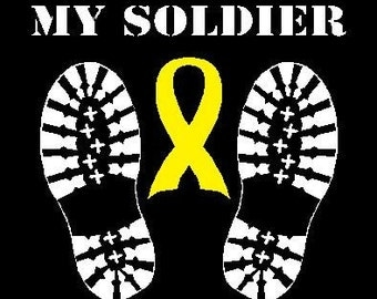 Military Soldier Boot Yellow Ribbon  Car Decal Sticker Custom Made