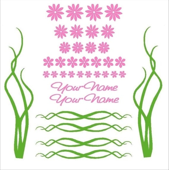 Flower and Vine Decal/Sticker Set with Custom Name for Bikes