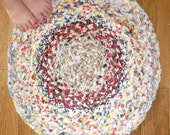 Prairie Calico Rag Rug - Vintage, Braided, 25 inches round