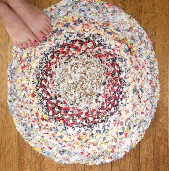 Prairie Calico Rag Rug Vintage Braided 25 Inches Round