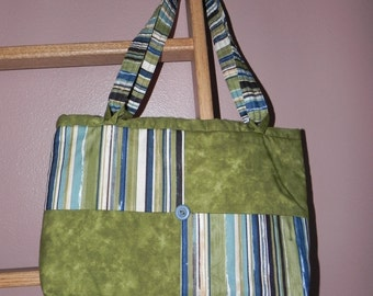 Olive Green and Multi-color Stripes Purse/Tote Bag / Item # 22