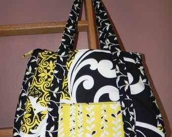 Black, Yellow, White Purse/Tote Bag - Double Handles / Item # 46