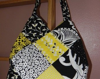 Yellow, Black, White Quited Bag / Item # 23