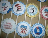 Dr Seuss Birthday Cupcake Toppers - Set of 12 - Personalized, Custom - Blue, Aqua, Red, Yellow - Cat in the Hat, Thing 1 and 2 - Baby Shower