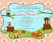 Woodland Forest Animals - Custom Baby Shower Invitation - Girl - Birthday - Owl, Deer, Fox, Bear, Hedgehog, Rabbit - 5 Designs (Printable)