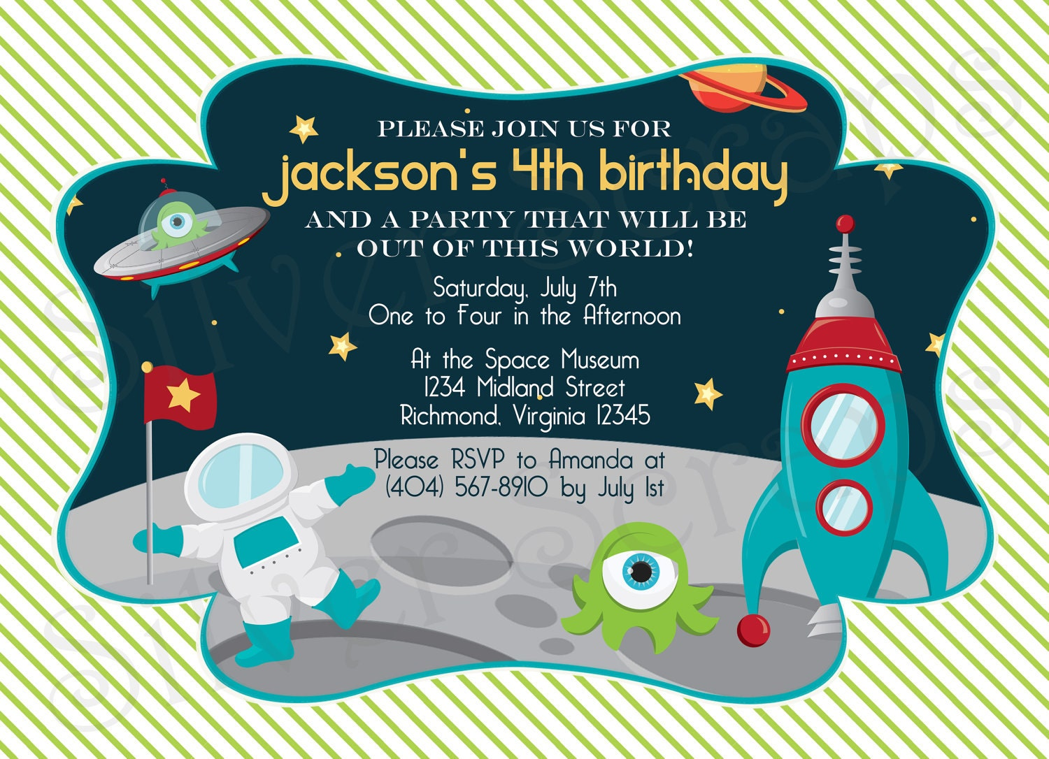 Outer Space Custom Digital Birthday Party By Silverscraps
