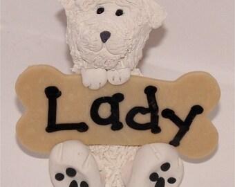 White Puppy-cut Maltese and bone tree ornament