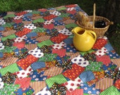 RESERVED for Pene / picnic blanket upcycled vintage in crazy quilt patchwork (only 1)
