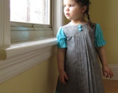 handmade toddler girls dress / gray and turquoise Audrey for party weddings (made to order)